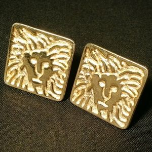 Anne Klein - Golden Lion Logo Clip On Earrings